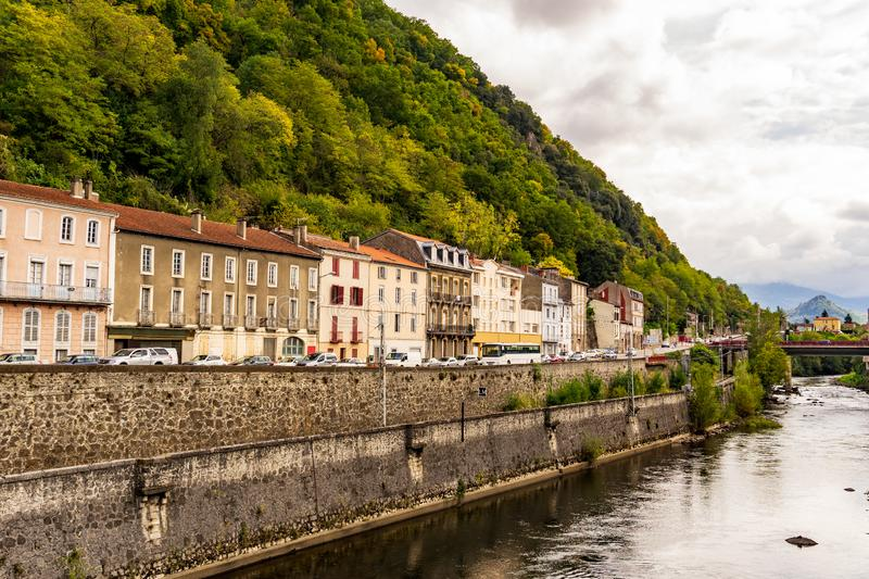Ariege River at Foix cut the village in two stock photos