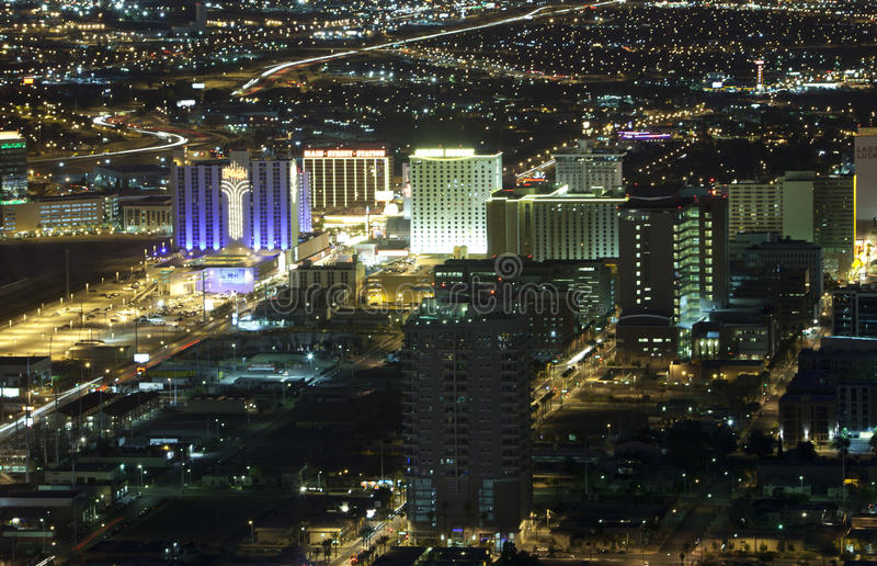 Ariel de Las Vegas (noite) imagens de stock royalty free