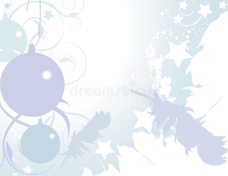 Ariel Ornaments. Christmas background with flourished, ornaments, and feathers vector illustration