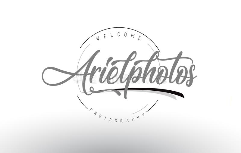 Ariel Personal Photography Logo Design with Photographer Name. Ariel Personal Photography Logo Design with Photographer Name and Handwritten Letter Design vector illustration