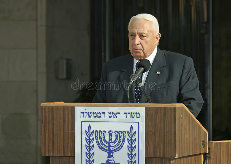 Ariel Sharon. Speaks about the talks he is having with Palestinian Authority President, Mahmoud Abbas in front of the Prime Ministers Office Building in stock photo