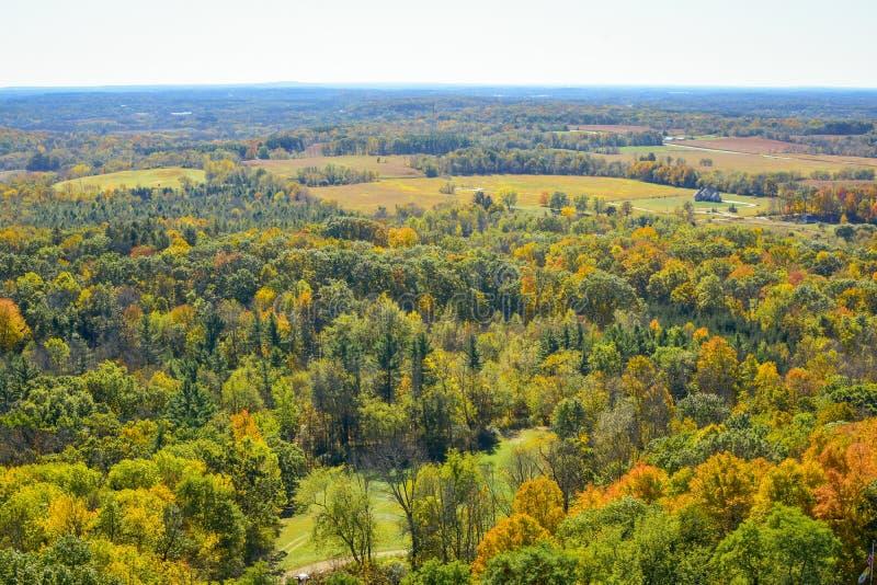 Ariel View av Hubertus, Wisconsin arkivbilder