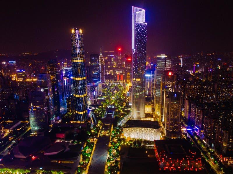 Ariel View de ville nouvelle de Zhujiang dans Guangzhou Chine photographie stock libre de droits