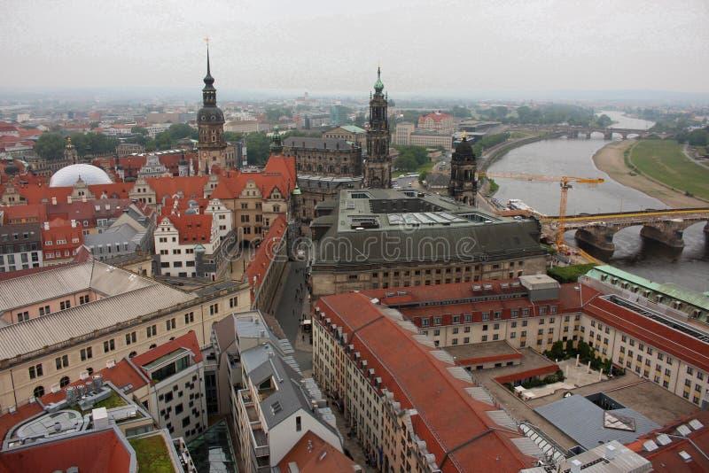 Ariel View från den Frauenkirche domkyrkan i Dresden, Tyskland arkivfoto