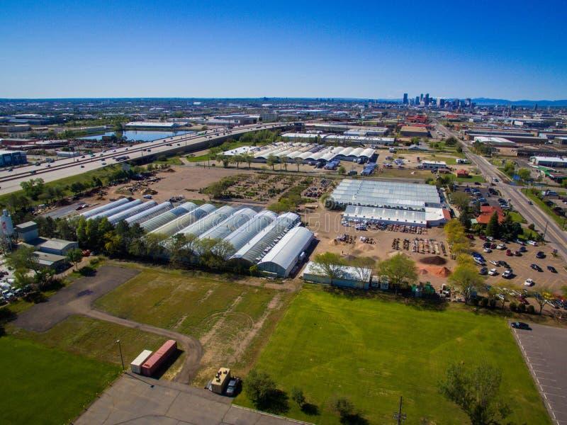 Ariel View Of Greenhouses imagem de stock