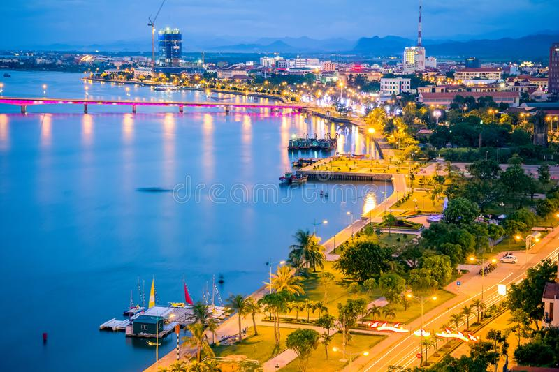 Ariel view of Nhat Le Park, it used to be fish habour in Vietnam war. Its located in Nhat Le river, Hoi city, Quang Binh prov stock photos