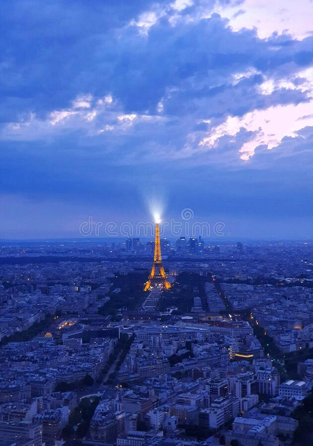 Ariel view of Paris and the Eiffel tower, Paris, France royalty free stock photography