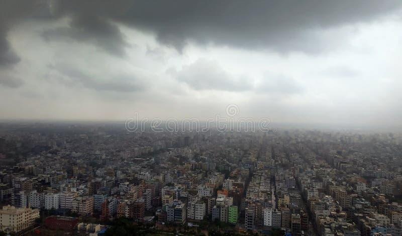 Ariel widok porcja Dhaka miasto w Bangladesz zdjęcie stock