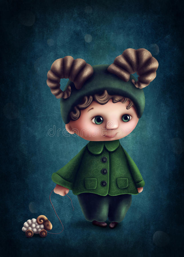 Aries astrological sign boy. Illustration with aries astrological sign boy stock illustration