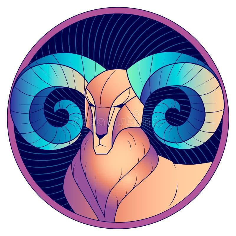 Aries con vector azul del horóscopo de la muestra del zodiaco de los cuernos libre illustration