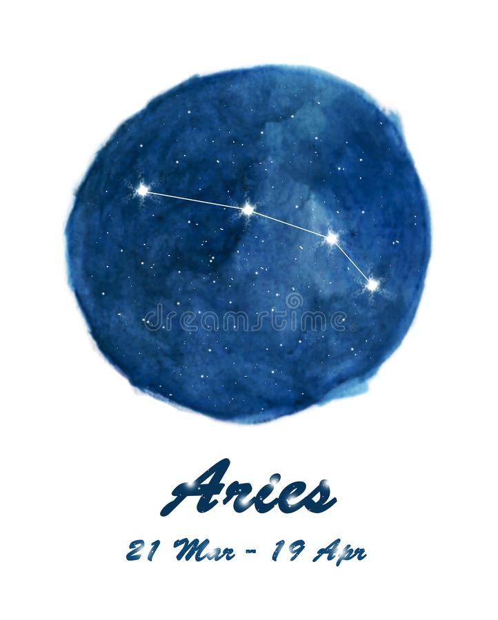 Aries constellation icon of zodiac sign Aries in cosmic stars space. Blue starry night sky inside circle background. royalty free stock photo