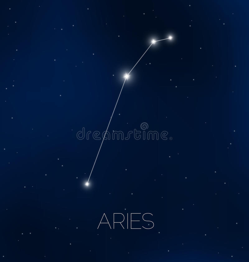 aries constellation in night sky stock vector
