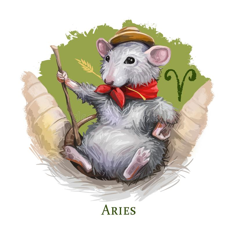 Aries creative digital illustration of astrological sign. Rat or mouse symboll of 2020 year signs in zodiac. Horoscope fire. Element. Logo sign with ram horns stock illustration