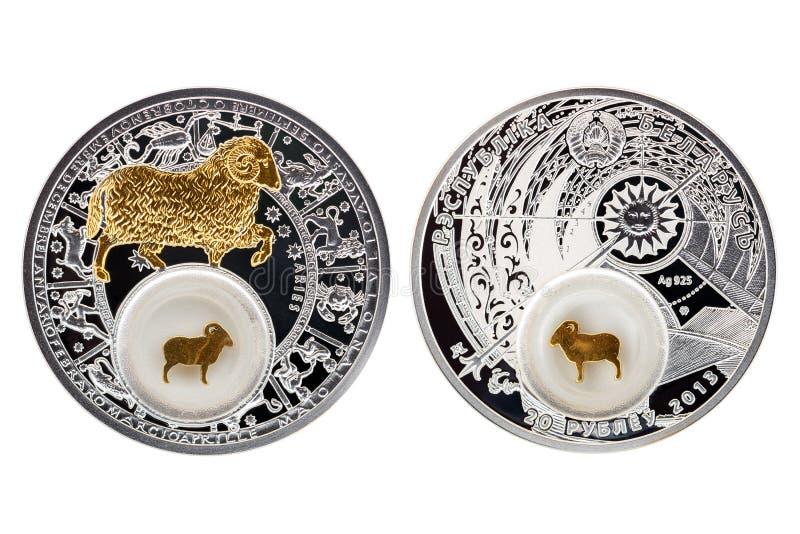 Aries 2013 de la astrología de la moneda de plata de Bielorrusia foto de archivo