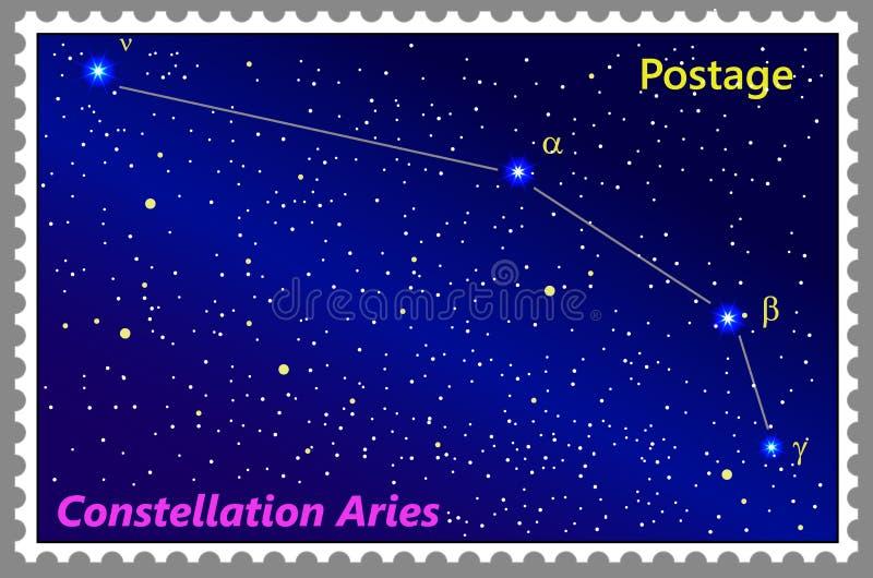 Aries de la constelación del sello con una perforación simple del marco ilustración del vector