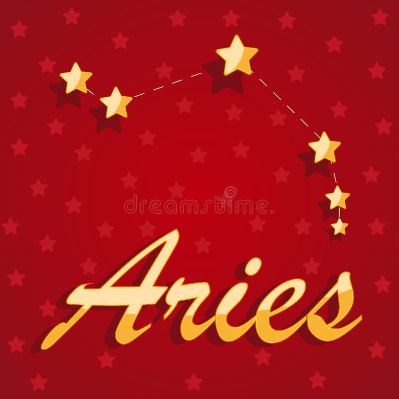Aries de la constelación sobre fondo estrellado rojo stock de ilustración