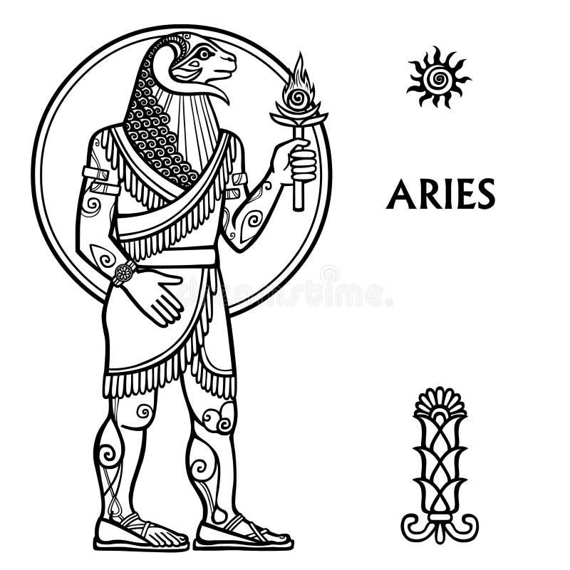 Aries de la muestra del zodiaco ilustración del vector