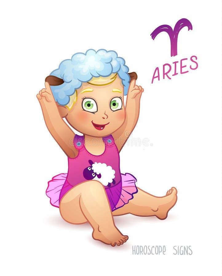 Aries de la muestra del zodiaco Aries de la muestra del horóscopo Babygirl goza el jugar del sombrero de las ovejas ilustración del vector