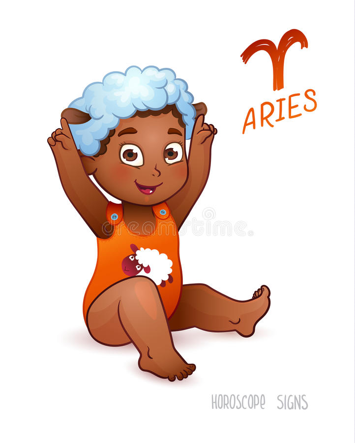 Aries de la muestra del zodiaco Aries de la muestra del horóscopo El niño de Americam del africano goza el jugar de ovejas ilustración del vector