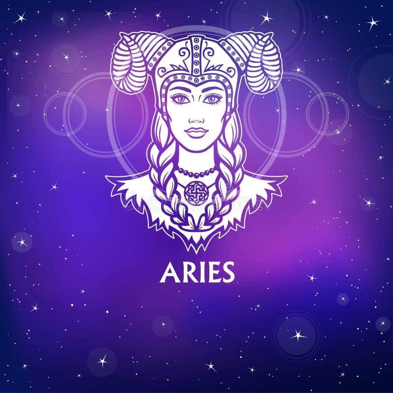 Aries de la muestra del zodiaco Princesa fantástica, retrato de la animación Dibujo blanco, fondo - el cielo estelar de la noche libre illustration