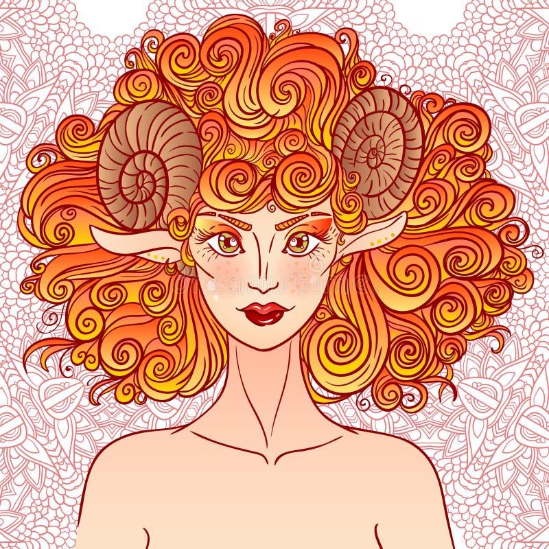 Aries de la muestra del zodiaco Señora de las ovejas stock de ilustración