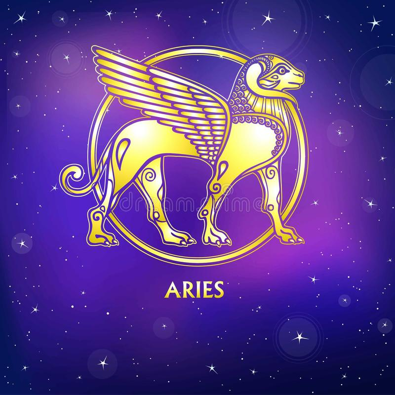 Aries del segno dello zodiaco Carattere di mitologia sumerica Imitazione dell'oro illustrazione vettoriale
