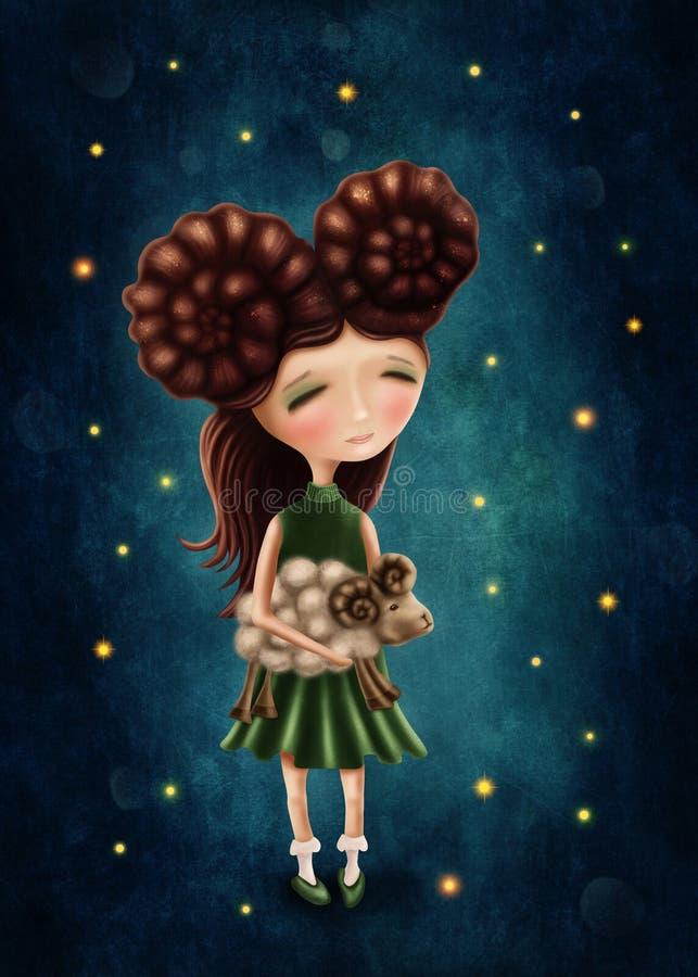Aries dziewczyna royalty ilustracja