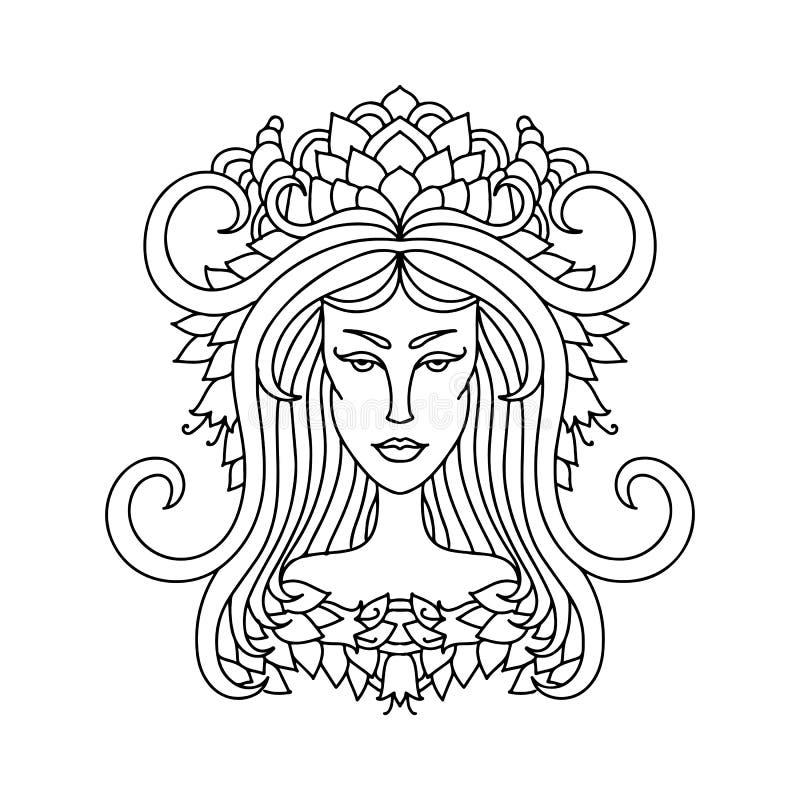 Aries dziewczyny portret Zodiaka znak dla dorosłej kolorystyki książki Prosta czarny i biały wektorowa ilustracja ilustracja wektor