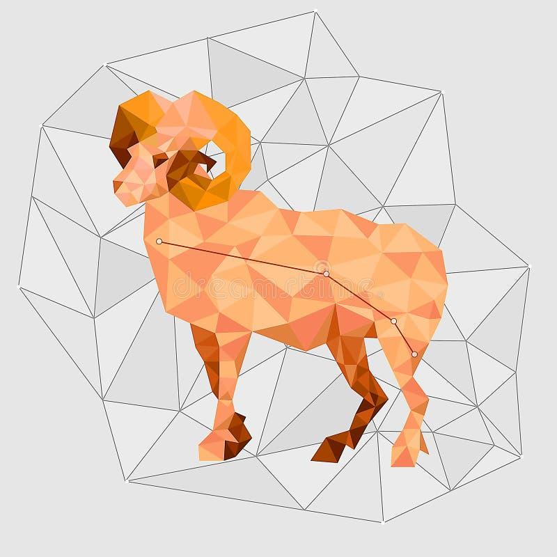 Aries gwiazdozbiór w poligonalnym stylu z szarymi liniami ilustracji