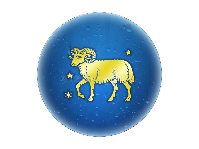 Aries - muestra de oro del zodiaco stock de ilustración