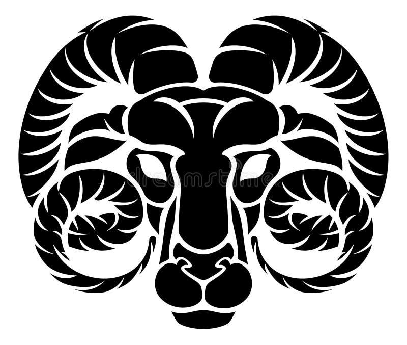 Aries Ram Zodiac Horoscope Astrology Sign stock de ilustración