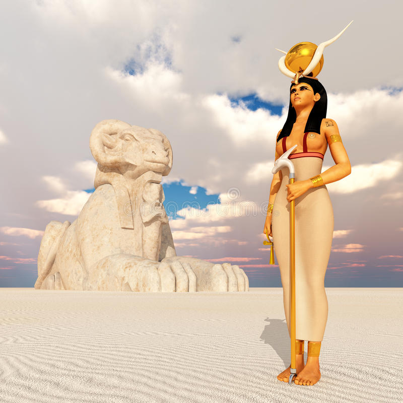 Aries sphinx and the goddess Hathor. Computer generated 3D illustration with aries sphinx and the goddess Hathor stock illustration