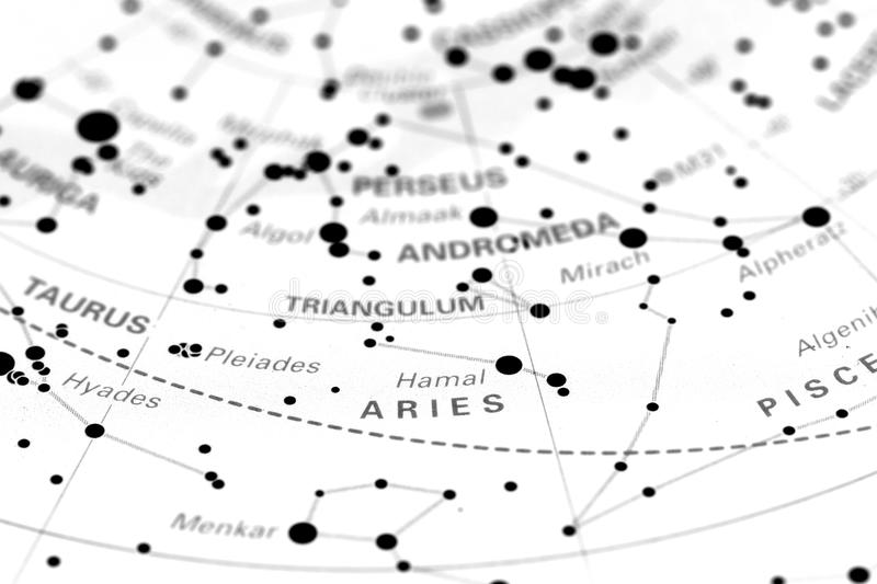 Aries on star map. Image of the constellation Aries on a star map royalty free stock photos