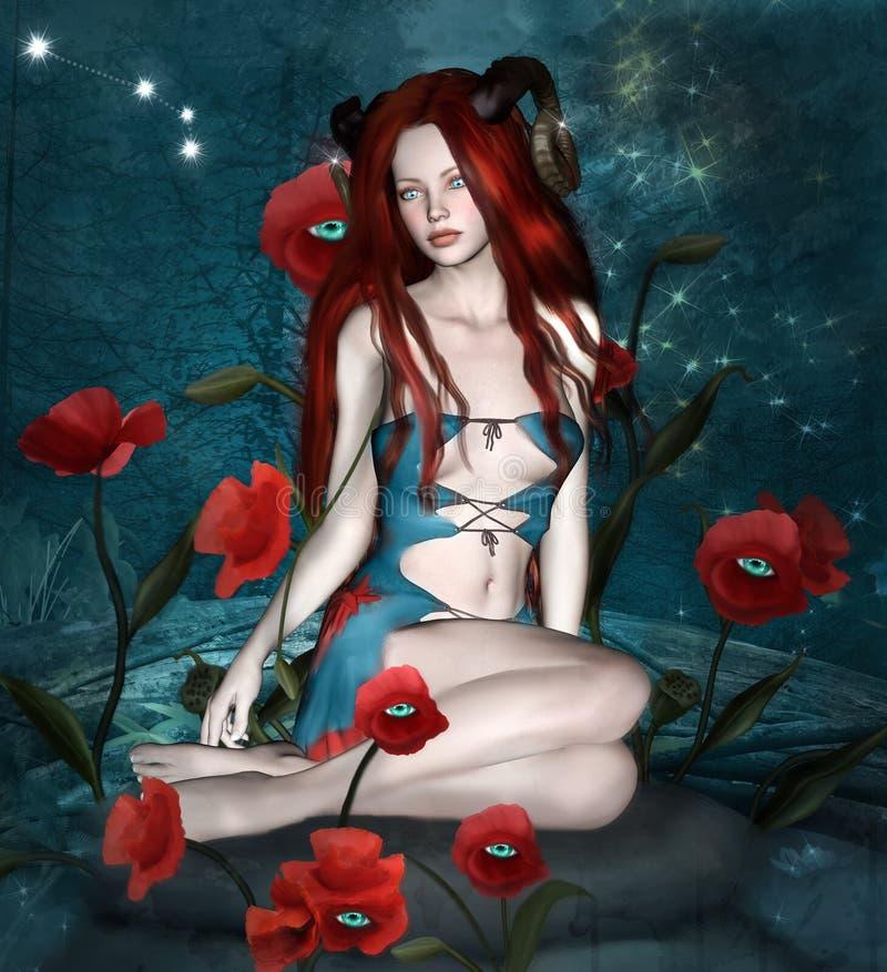 Aries surrealista como muchacha linda del pelirrojo con los cuernos libre illustration
