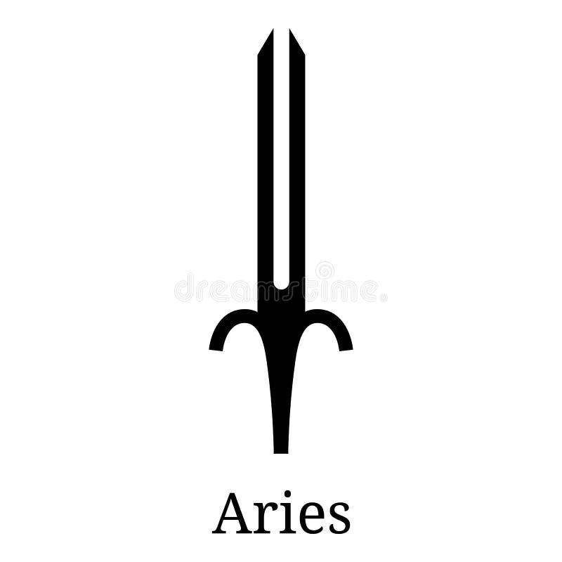 Aries Sword Icon r r Vector astrológico, muestra del horóscopo Símbolo del zodiaco stock de ilustración
