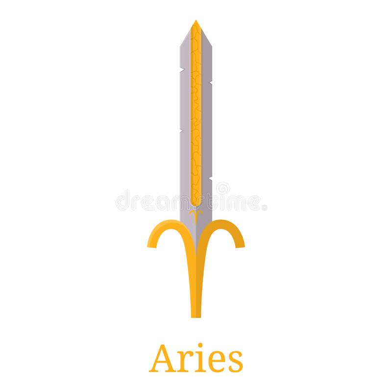 Aries Sword Zw?lf Symbole des Tierkreises f?r verschiedene Auslegunggestaltungsarbeiten Flache Karikatur-Zodiacal Waffe r Vektor  vektor abbildung