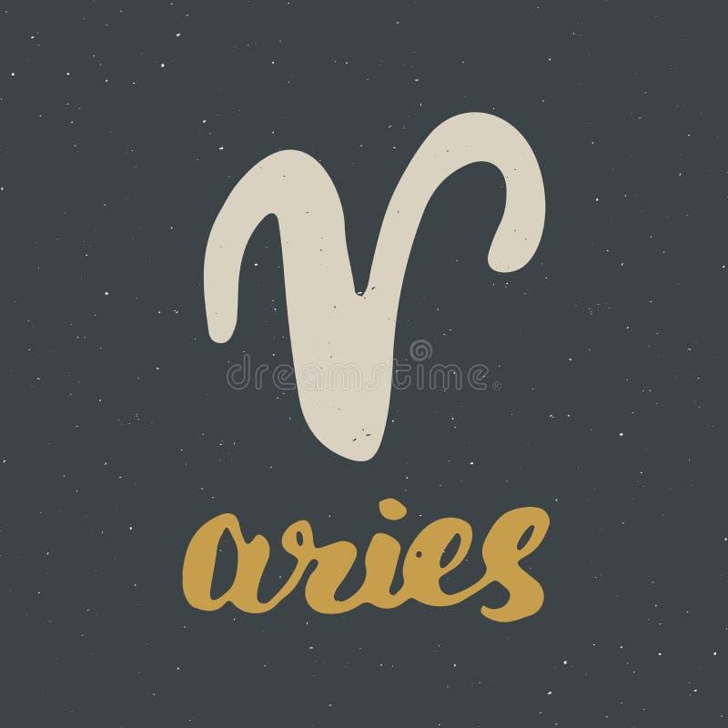 Aries y letras de la muestra del zodiaco Dé el símbolo exhausto de la astrología del horóscopo, diseño texturizado grunge, impres stock de ilustración