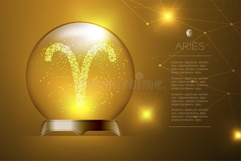 Aries Zodiac assina dentro a bola de vidro mágica, ilustração do projeto de conceito do caixa de fortuna ilustração stock