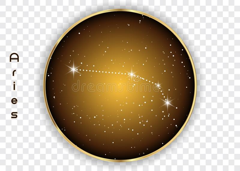 Aries zodiac constellations sign on beautiful starry sky with galaxy and space behind. Aries horoscope symbol constellation on dee stock illustration