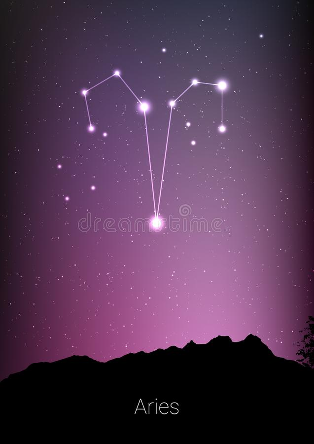 Aries zodiac constellations sign with forest landscape silhouette on beautiful starry sky with galaxy and space behind. Aries horoscope symbol constellation on stock illustration