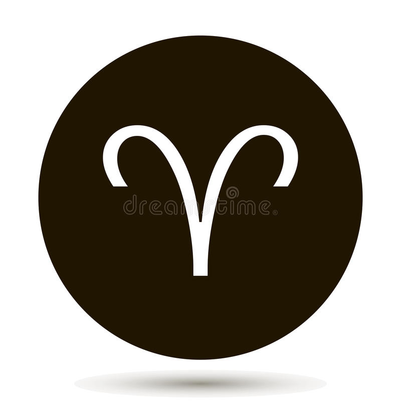 Aries Zodiac Sign Astrological Symbol Icon In Circle Stock Vector