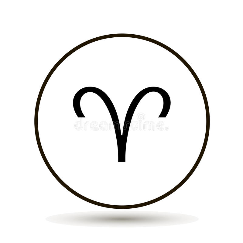 Aries Zodiac Sign Astrological Symbol Icon In Circle On White