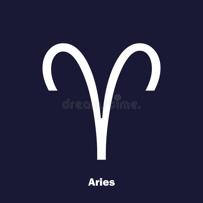 Aries Zodiac Sign Astrological Symbol Vector Icon On Dark Blue