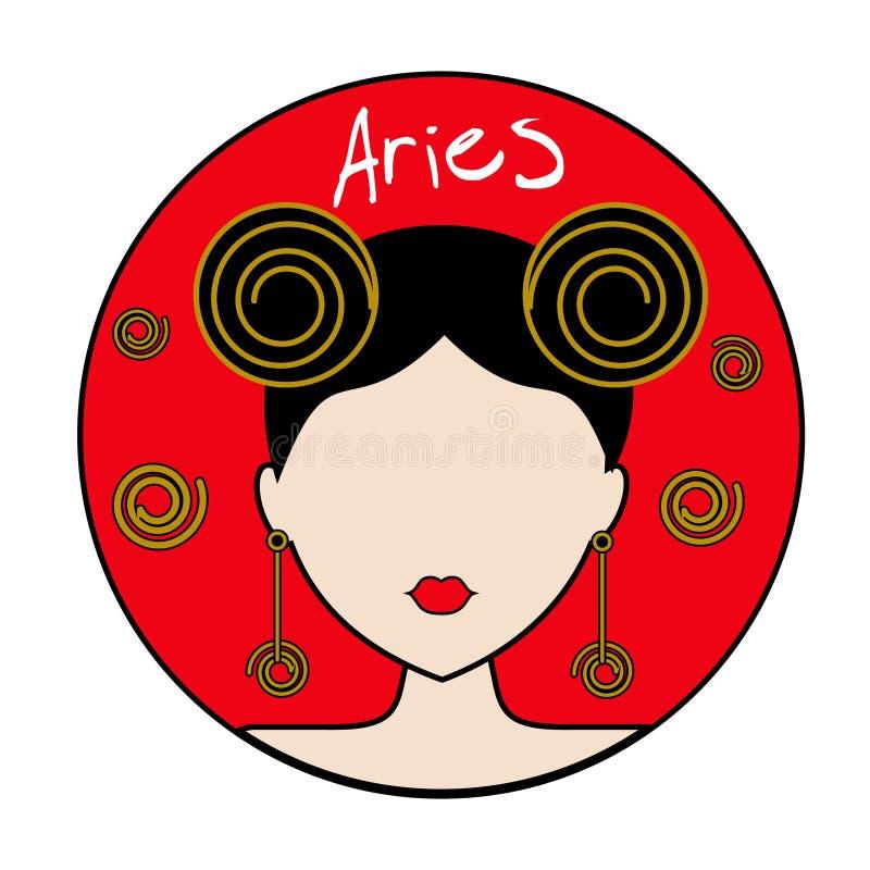 Aries Zodiac Sign Avatar femenino ilustración del vector