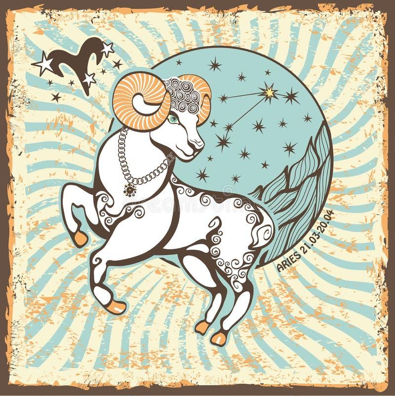 Aries Zodiac Sign Cartão do horóscopo do vintage ilustração royalty free