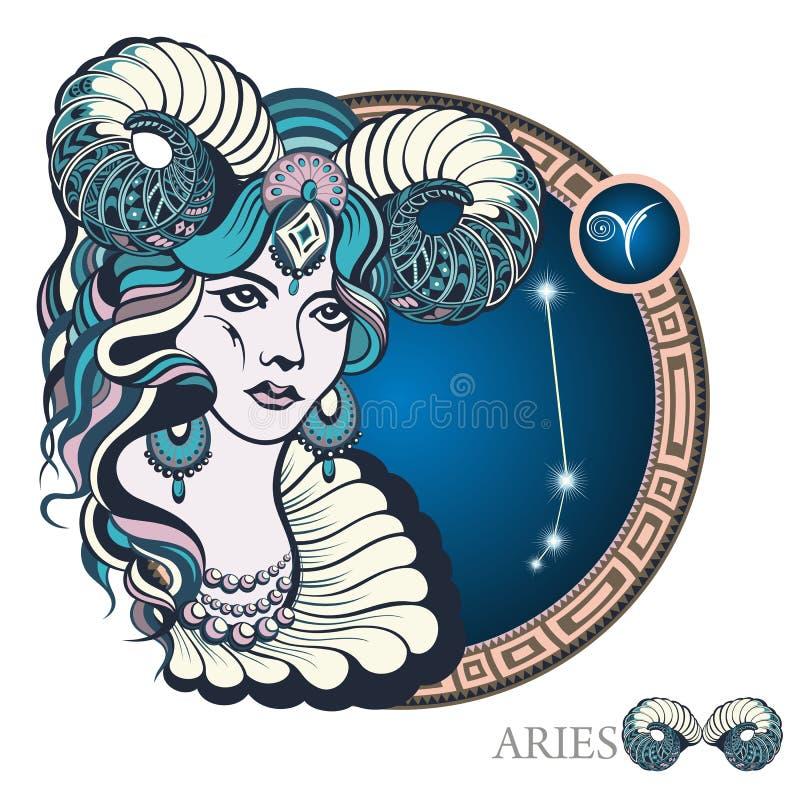 Aries. Zodiac sign vector illustration