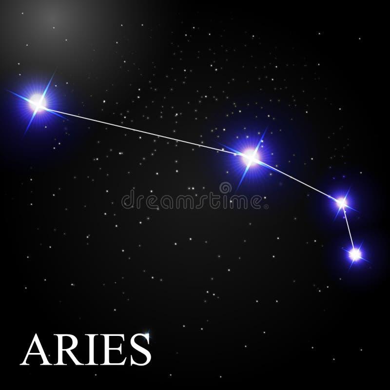 Aries Zodiac Sign con las estrellas brillantes hermosas en el fondo stock de ilustración