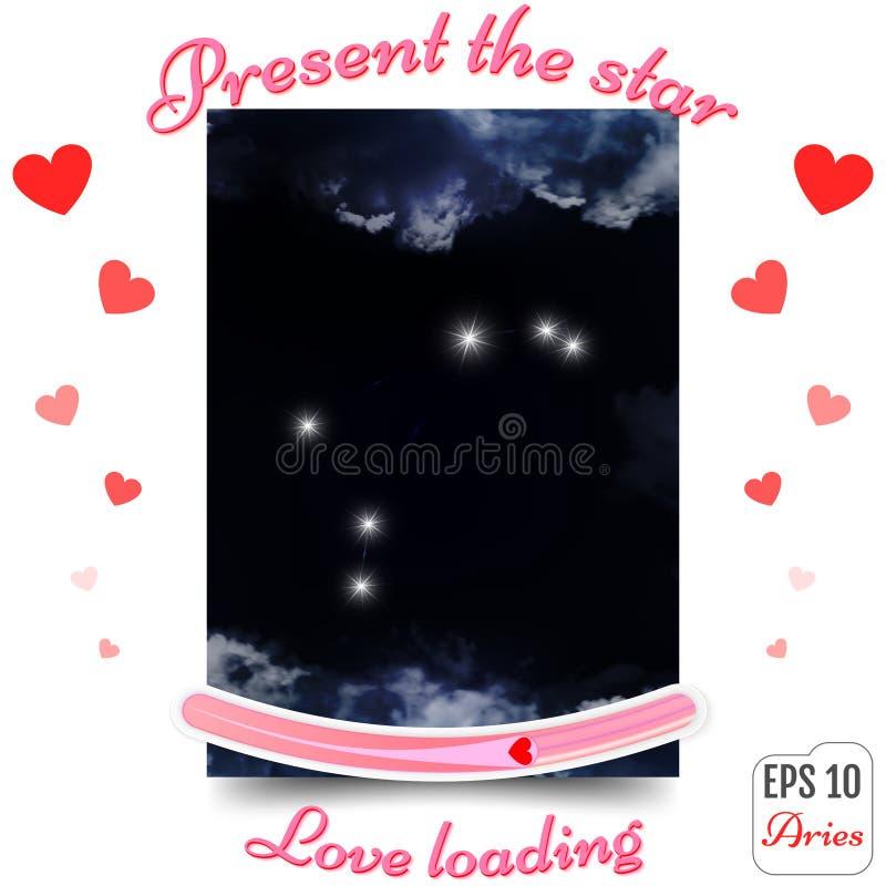 Aries Zodiac Sign Constelação de Aries Horoscope, estrelas Presente ilustração royalty free