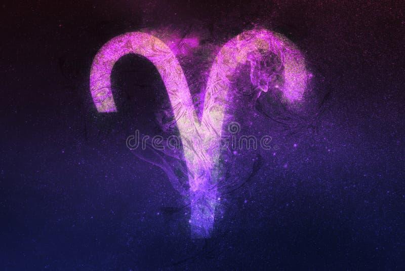 Aries Zodiac Sign Fond de ciel nocturne illustration libre de droits