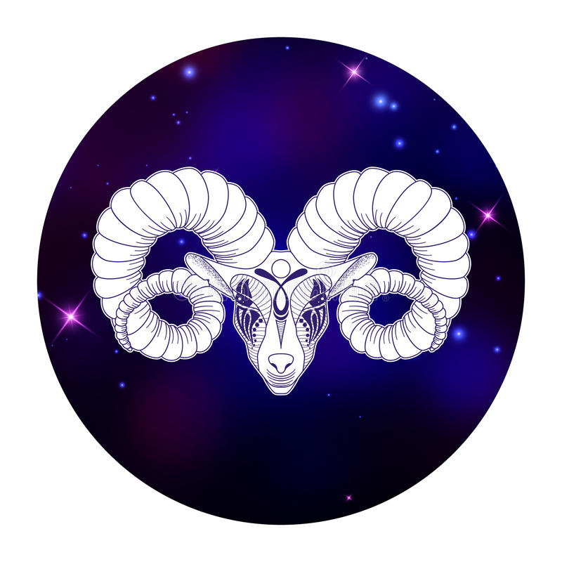 Aries Zodiac Sign Horoscope Symbol Vector Illustration Stock